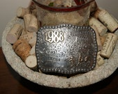 sterling and 10k gold rodeo belt buckle ,skyline silversmith , very collectable