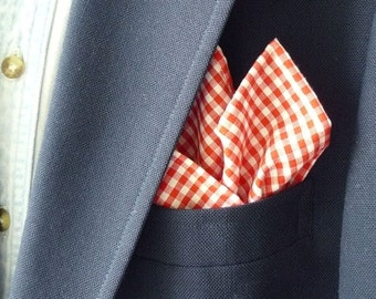 Bright Red Gingham Pocket Square with Hand-Rolled Hem