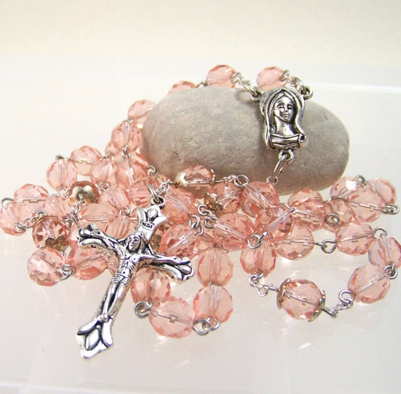 silver Catholic rosary with blush pink faceted glass beads