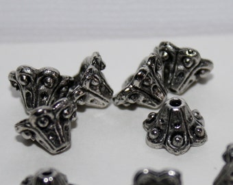 12 - Bead Caps-6x10mm Bell Flower-Tibetan Style-Antiqued SilverAlloy Base Metal-Lead Nickel Free-Jewelry Making-Beading Supplies-Findings