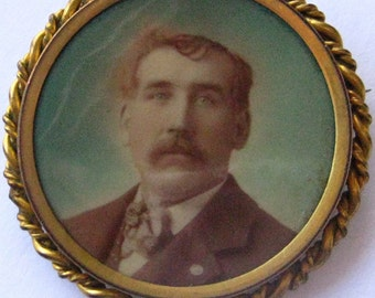 Vintage Steampunk  Round Tinted  Portrait Photo Mourning Brooch of  Man C Clasp