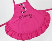 Personalized Child's Baking Birthday Party Apron Pink Ruffle With Age and Name