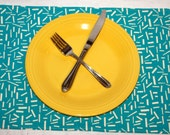 6 Cloth Placemats Oversized Aqua Teal Confetti Sprinkles