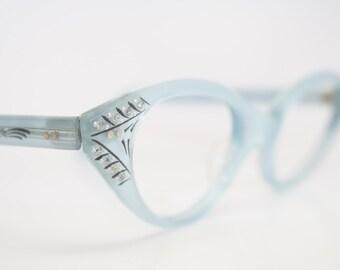 Blue Cat Eye Eyeglasses Vintage Rhinestone Cat Eye Frames NOS