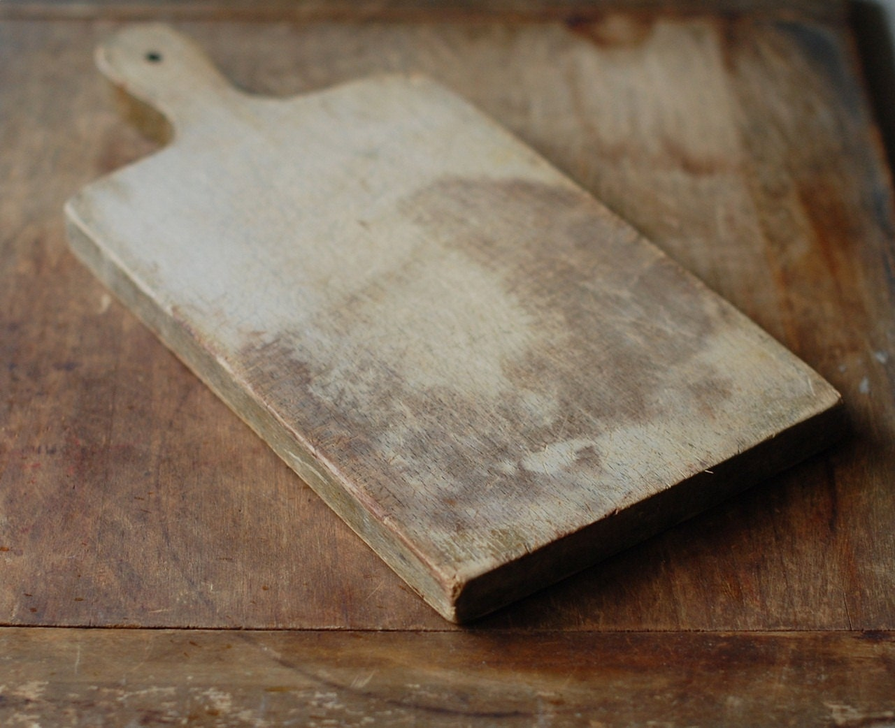 Antique Wood Cutting Board With Rustic Patina Vintage Bread