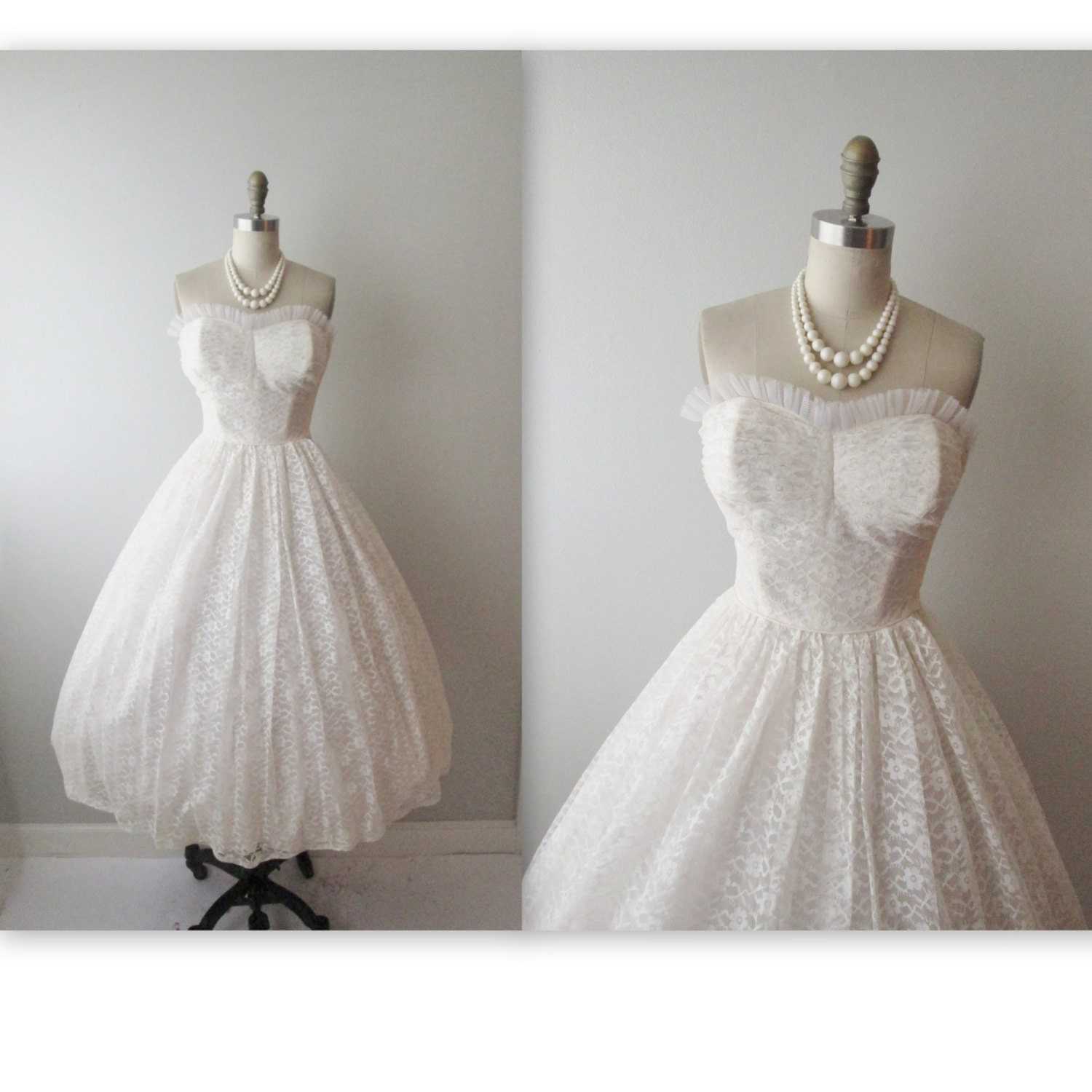 50s Wedding Dress // Vintage 1950s Strapless White Lace