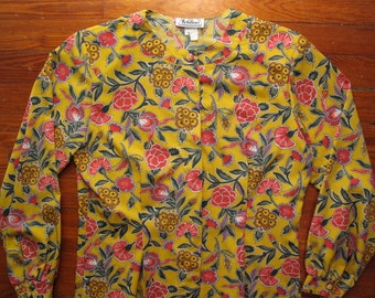 women's vintage long sleeve floral blouse.