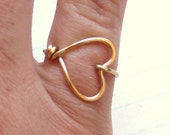 Sweetheart Ring Heart Ring Gold Silver Copper Ring Wire Wrap Ring Love Ring BFF Friendship Ring Bridesmaids Gift Jewelry Gifts Under 10