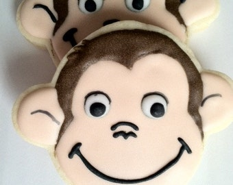Curious George monkey sugar cookies,  1 dozen