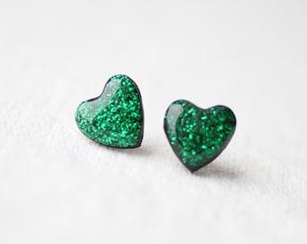 Emerald Green Glitter Hearts Stud Earrings, post earrings