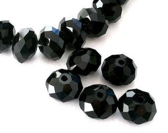 20 jet black Chinese crystal beads, 8mm x 6mm rondelles, 8mm jet black rondelles