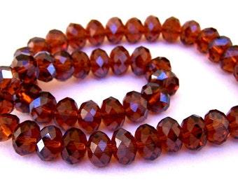Deep amber brown crystals, 8mm smoky dark topaz brown Chinese crystals, 8mm brown, qty 24