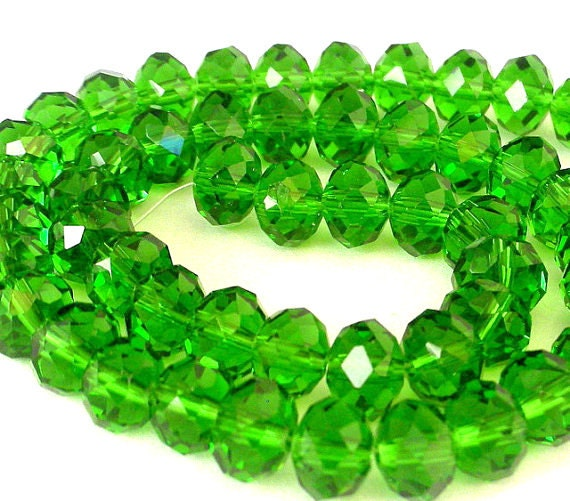 Fern green beads, 8mm green rondelles, bright green Chinese crystal, qty 18