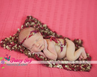 Photography Layering Set Prop Knit Baby Blanket and Tieback Headband