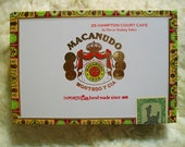 Cigar Box for crafting, purses, supplies  - MACANUDO - Hampton Court Cafe - Empty Box