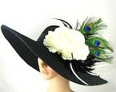 Black Kentucky Derby Hat with Peacock Feathers,Fascinator,Wide brim black Hat ,Women's Dress Hat Wedding Tea Party Ascot  Horse Race