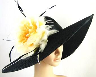 Kentucky Derby Hat Derby Hat Dress Hat Wide brim Hat Peach flower Women's Dress Hat Wedding Tea Party Ascot  Horse Race