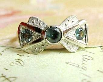 Alexandrite engagement ring in 14k White & Yellow Gold, Bow Tie, Vintage Inspired, by JcMetalsmith