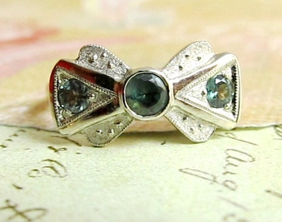 Items Similar To Alexandrite Engagement Ring In 18k White Gold Bow Tie Vint