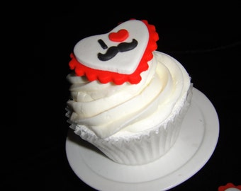 I Heart Mustaches Fondant Cupcake Toppers