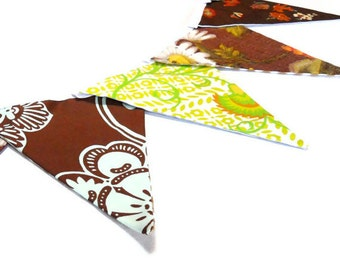 Retro Bunting featuring Vintage fabric circa 60s barkcloth, Brown and Lime Green