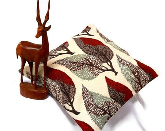 Vintage Fabric Retro cushion in 50s 60s Red and Brown  Leaf  Barkcloth