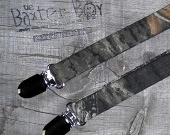 Mossy Oak Camouflage little boy suspenders - camo, photo prop, wedding, ring bearer, accessory