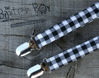 Black and White gingham little boy suspenders - photo prop, wedding, ring bearer, accessory