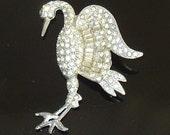 40's Book Piece Vintage Rhinestone Crane Bird Brooch