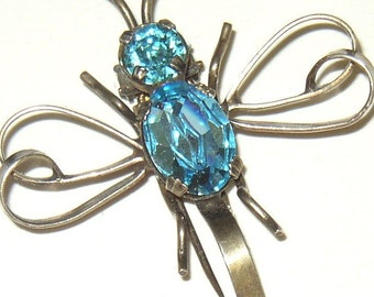 Vintage Retro Sterling Blue Rhinestone Dragonfly Bug Fur Clip