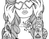 Digital Download Print Your Own Coloring Book Outline Page - Sweet Heart by Carissa Rose