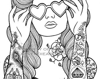 digital download print your own coloring book outline page sweet heart by carissa rose - Coloring Pages Hearts Roses