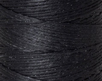 Tools & Supplies-4-Ply Irish Linen Cord-Waxed-Black-Quantity 10 Yards