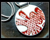 RED INK BLOT - Recycled Broken Vintage China Plate Necklace