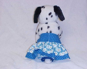 Female Dog Diaper Britches Panties Pet Wrap Skirt Size XSmall To 5XLarge Blue Daisy Print Fabric