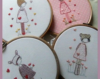 Three girls in hats embroidery pattern PDF