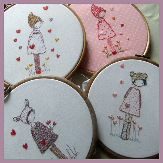 Three girls in hats embroidery pattern pdf by lilipopo on etsy