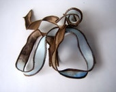 Hand Dyed Painted Habotai - Silk Wrap Bracelet - Brown Light Blue  - Fairy Ribbon, DIY wrap bracelet, Silk Bracelet, Ribbon Wrap, Ribbon