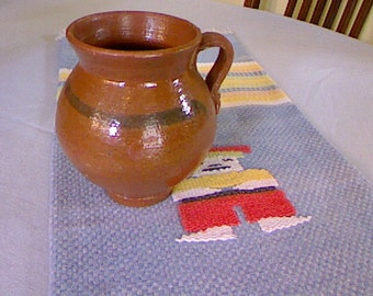 Mexican Pottery / Vintage Earthenware Pottery / Hand Made Pot / Glazed Mexican Cooking Pot / Art Pottery / Cottage Decor