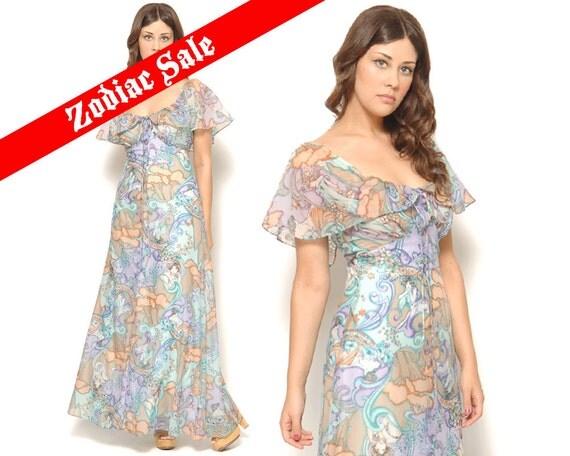 70s Flutter Sleeve Sheer Pastel Maxi Dress Art Nouveau Novelty Lady Print Fairies Empire Waist / Boho Hippie / Size S Small
