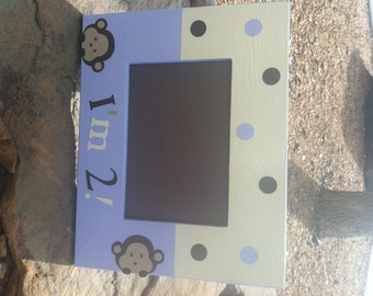 Personalized Picture Frame with Mod Pod Pop Monkey
