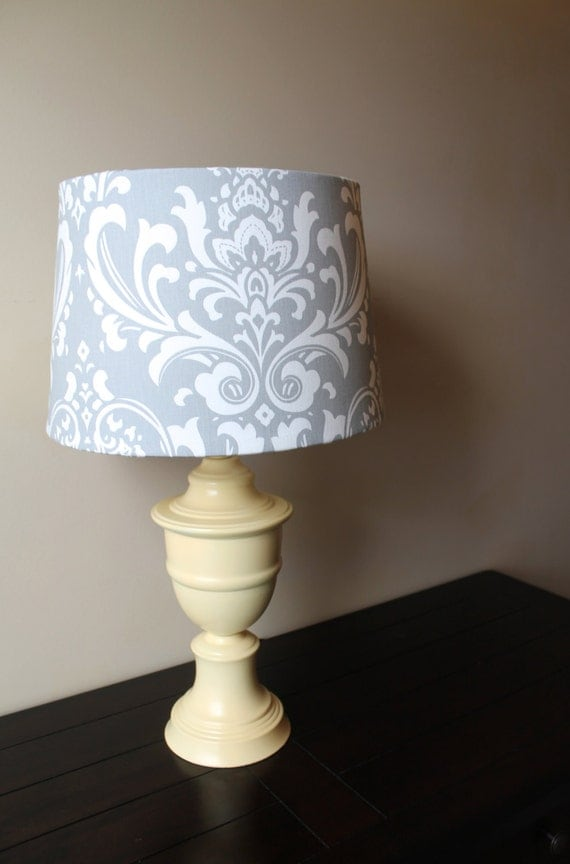 yellow lamp base with grey damask shade ooak. Black Bedroom Furniture Sets. Home Design Ideas