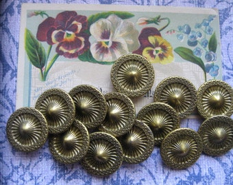Vintage Brass Buttons...1940...new old stock....flower design...set of 20