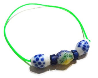 Neon Green, Blue, White and Yellow Choker Necklace - Womens Spring/Summer Fashion, Teen Girls, Necklaces, Glass, Ceramic, Rubber, Beach