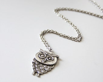 Wise Owl Necklace. Silver (VNL-61)