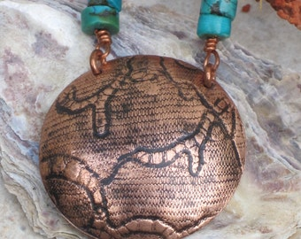 Seaward Copper Pendant With Turqoise Necklace