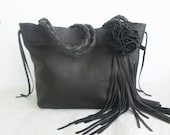black leather handbag,  with flower and leaf fringe by Tuscada. Made to order.