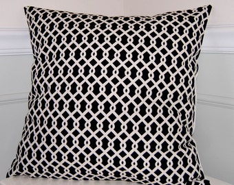 Geometric Throw Pillow Cover, Black & White Cushion Cover, Contemporary Pillow, 18x18
