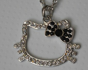 Black bow crystal kitty pendent long necklace