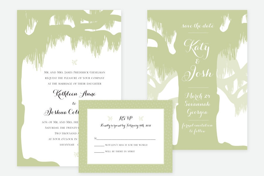 Wedding Invitations Spanish: Spanish Moss Wedding Invitation By Loobirdpress On Etsy
